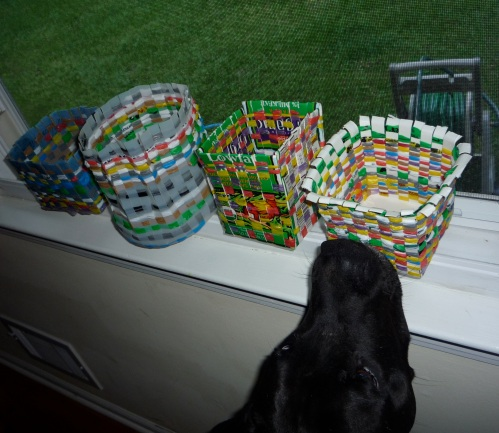 recycle plastic bags and milk cartons into baskets