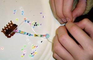 arranging beads