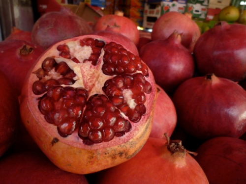Pomegranate in the market