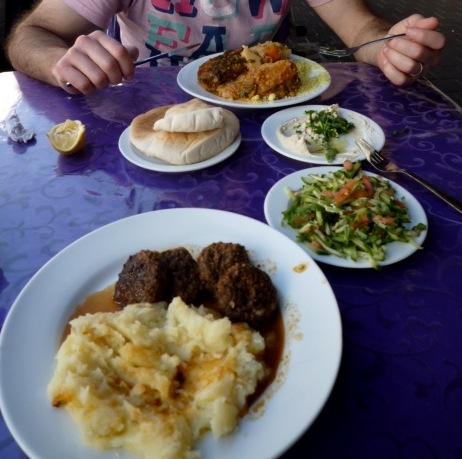 Shuk Ha'Carmel: opening a table. a small corner eatery