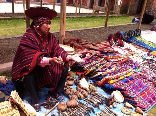Chinchero market, selling musical instruments