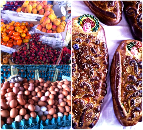 fruits, free range eggs, decorated breads of all kinds