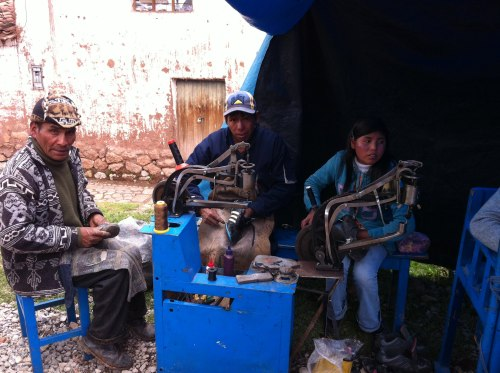 Chinchero market: recycling old shoes into sandals