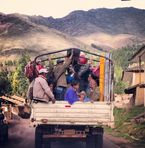 climbing to Pisac behind this truck
