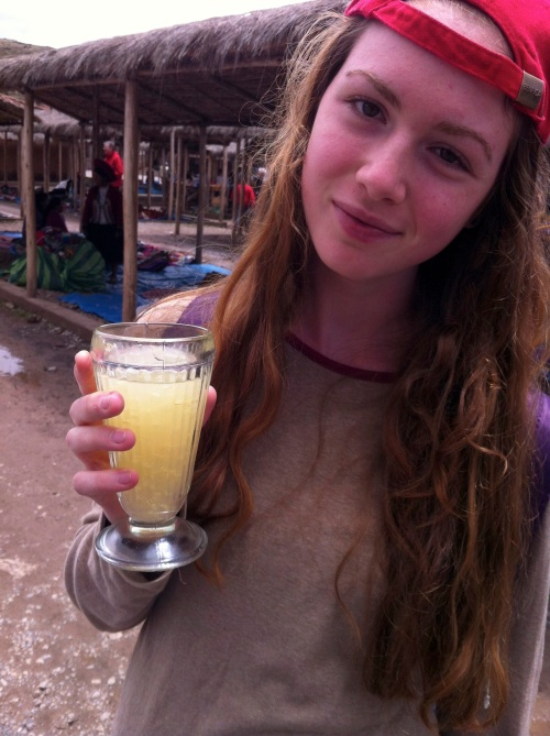 sweet, warm quinoa juice in Chinchero