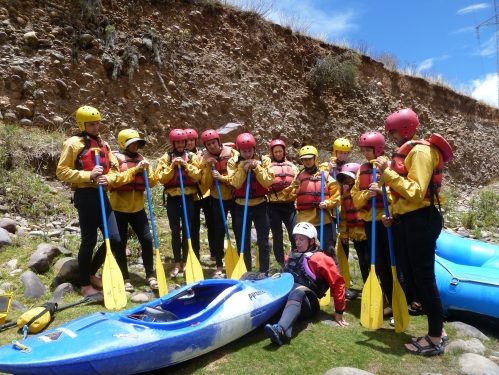We all just seem to be paying attention before the rafting. We're actually very cold