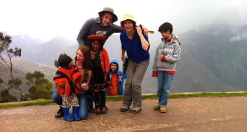 We went to take or photo, and cute Quechua kids joined us