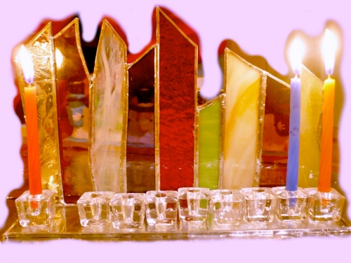 A lighted Chanukia, for Chanukah