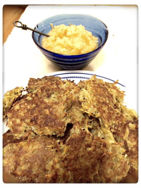 coconutty sweet latkes with tangy applesauce