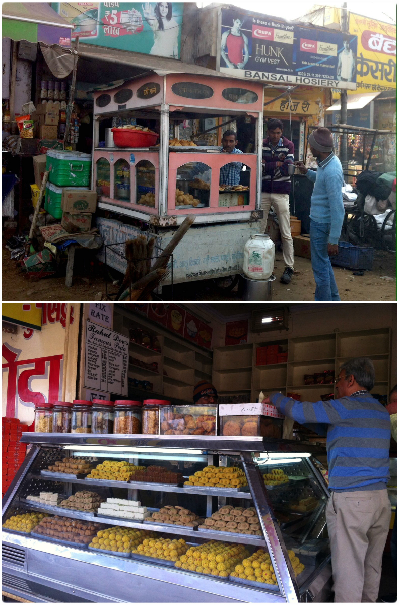 Always a reason to stop for some more food. Top: puri, Bottom: sweets