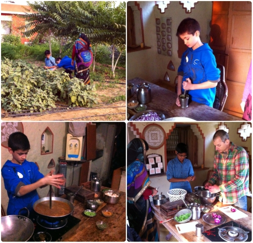 Meanwhile.. the boys are preparing dinner by first gathering the fresh ingredients from the organic garden