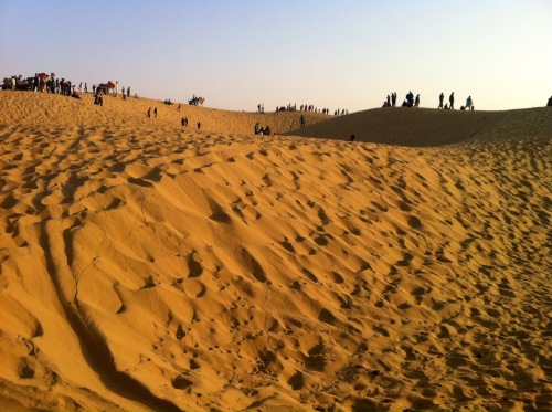 Not much solitude. People and camels as far as the eye can see